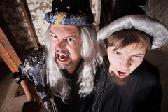 Father and Son Wizards Yelling Royalty Free Stock Photography