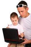 Father and son working with notebook Stock Photos