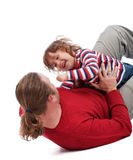 Father and son wrestling Royalty Free Stock Photography