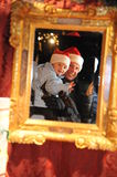 Father and Son with x-mas hats Stock Photo