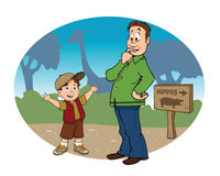 Father son zoo background Royalty Free Stock Photography