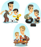 Father and song playing illustrations Royalty Free Stock Images