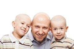 Father and sons. Smiling father and little sons - family happiness Royalty Free Stock Images
