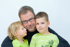 Father and sons. Portrait of a father with his sons royalty free stock photos