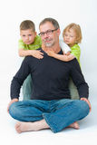 Father and sons. Portrait of a father with his sons Stock Photography