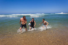 Father Sons Ball Play Beach Water Stock Photo