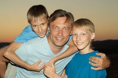 Father with sons Royalty Free Stock Image