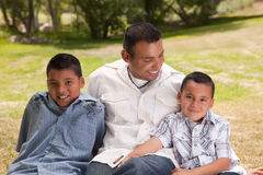 Father and Sons in the Park Royalty Free Stock Images