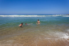 Father Sons Swimming Beach Royalty Free Stock Image