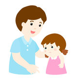 Father soothes crying daughter  Royalty Free Stock Photos