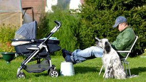 Father with stroller Stock Photo