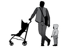 Father with a stroller and a baby Royalty Free Stock Photos