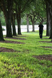 Father strolling under trees carrying son Royalty Free Stock Photography
