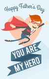 Father-superman flying. Greeting card for father's day. Vector illustration  Father-superman flying. Greeting card for father's day Stock Image