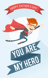 Father-superman flying. Greeting card for father's day Royalty Free Stock Photos