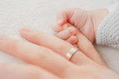 Father support. Hand finger small child kid sweet ring parent help love sweet Royalty Free Stock Photos