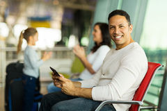 Father tablet computer airport royalty free stock photos