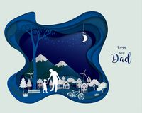 Father take care his son in the night time,Abstract paper art design on dark blue background. For Father`s Day,poster or banner,vector illustration Royalty Free Stock Photography
