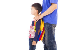 Father take kid to go to school stock image
