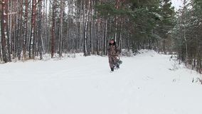The father takes the child on a sledge through the woods. stock video