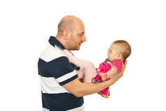 Father talking with baby girl Stock Image