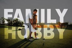 Dad Teaches Child Take Shot Golfing Family Hobby. Father Teaches the Kid Golfing. Happy Man and Kid in Sunset. Family Hobby. Child is Learning to Take Shot stock photography