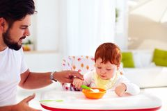 Father teaches son, baby to hold the spoon and eat by his own Royalty Free Stock Photo