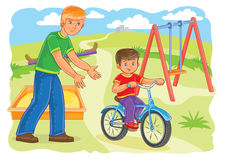 Father teaches to ride a bike little boy. Vector illustration of a father or an older brother teaches to ride a bike a little boy Royalty Free Stock Photos