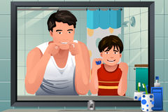 Father teaching his son how to floss. A vector illustration of father teaching his son how to floss in the bathroom Royalty Free Stock Photos