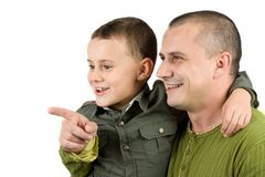 Father teaching his son, isolated on white. Father teaching his 7 years old son royalty free stock image