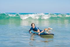 Father teaching his young son how to surf in the sea on vacation or holiday. Travel and sports with children concept.  royalty free stock images