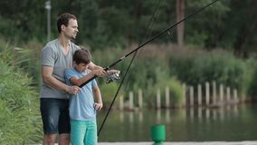 Father teaching son to fish at lakeside in summer stock video