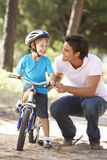 Father Teaching Son To Ride Bicycle Royalty Free Stock Image