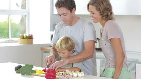 Father teaching son to slice vegetables stock footage