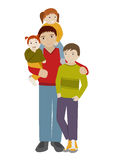 Father with three children. Cartoon vector Royalty Free Stock Photos