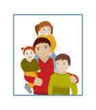 Father with three children portrait cartoon  Royalty Free Stock Image