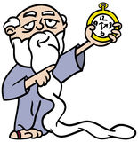Father Time pointing at watch. Cartoon illustration of Father Time with an extra long white beard pointing at a watch reminding us time is running out Stock Photos
