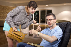 Father Tired of Waiting for Late Daughter at Night Stock Images