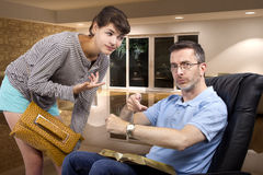 Father Tired of Waiting for Late Daughter at Night Royalty Free Stock Photos