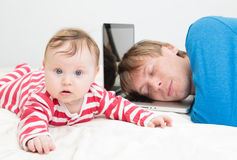 Father tired of working from home Stock Images