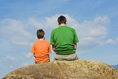 From father to son - the big talk concept. Father giving some advices to his son - the big talk concept Royalty Free Stock Image