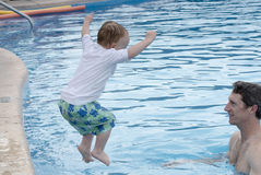 Father and Toddler Boy in Pool at a Resort in Mexico Royalty Free Stock Photos