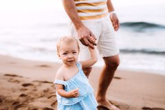 Father with a toddler girl walking on beach on summer holiday. stock photo