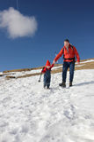 Father and toddler hiking Stock Images