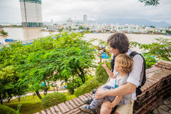 Father and Toddler Son tourists in Ventname. Po Nagar Cham Tovers. Asia Travel concept. Journey through Vietnam Concept stock image