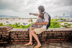 Father and Toddler Son tourists in Ventname. Po Nagar Cham Tovers. Asia Travel concept. Journey through Vietnam Concept royalty free stock image