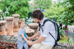 Father and Toddler Son tourists in Ventname. Po Nagar Cham Tovers. Asia Travel concept. Journey through Vietnam Concept royalty free stock photo