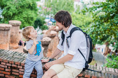 Father and Toddler Son tourists in Ventname. Po Nagar Cham Tovers. Asia Travel concept. Journey through Vietnam Concept stock photos