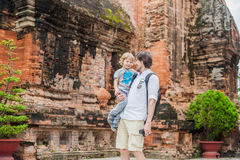 Father and Toddler Son tourists in Ventname. Po Nagar Cham Tovers. Asia Travel concept. Royalty Free Stock Photography