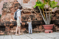 Father and Toddler Son tourists in Vietnam. Po Nagar Cham Tovers. Asia Travel concept. Journey through Vietnam Concept stock photography
